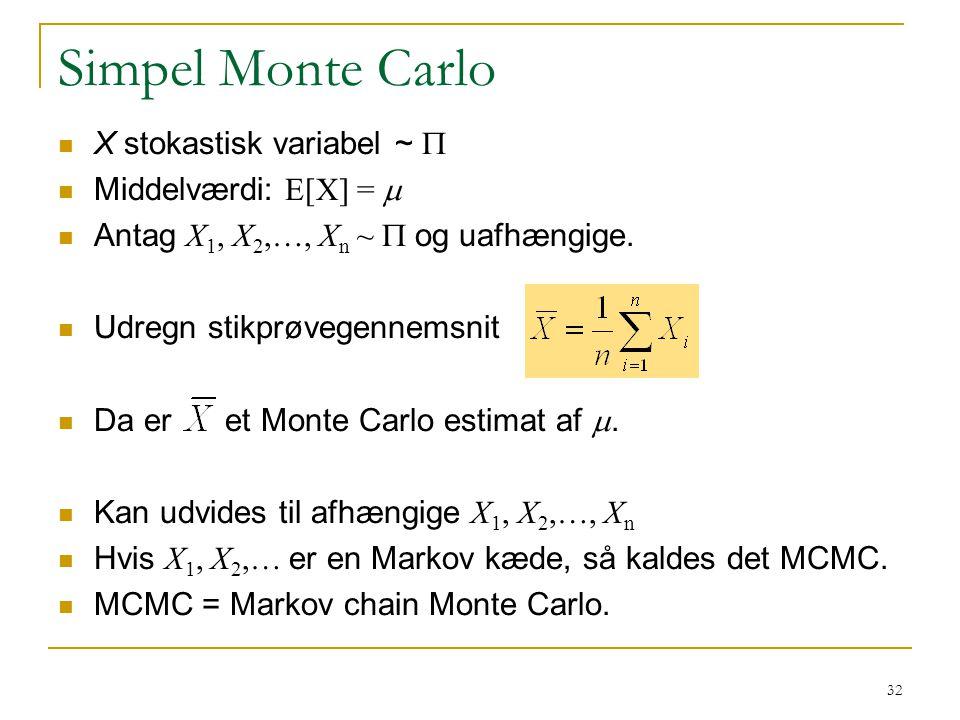 Simpel Monte Carlo X stokastisk variabel ~ P Middelværdi: E[X] = m